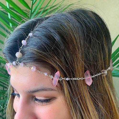 Pink Butterfly Quartz Headpiece