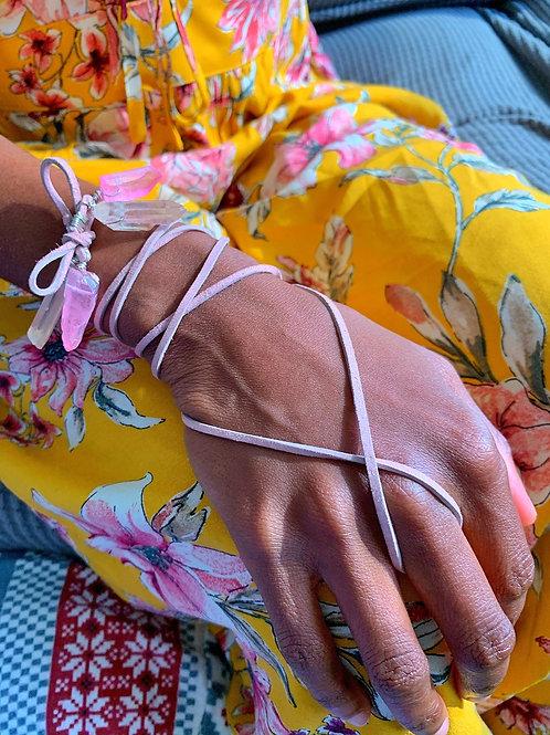 Pink Quartz Suede Bracelet Wrap