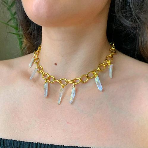 Layered Aura Quartz Necklace
