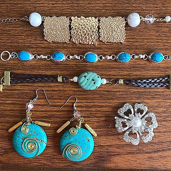 Blue and Turquoise boho earrings and bracelets