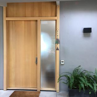 Oak Slab Door with One Light