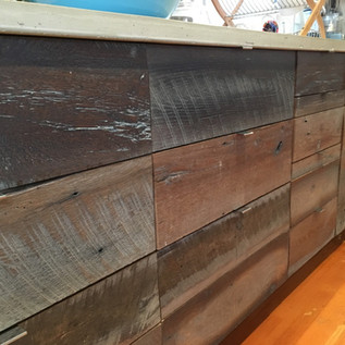 Contemporary Pulls on Reclaimed Wood Drawers