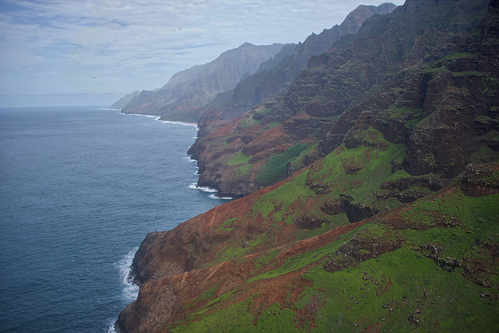 View along the northern Napali Coast, looking east. Photo by Dominique Weis.