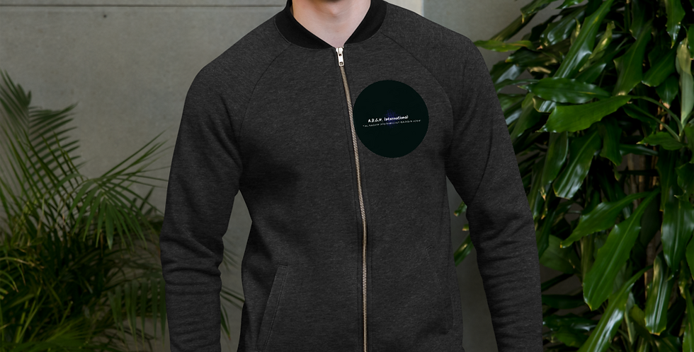 Bomber Jacket with our logo on front side and our slogan on the back side