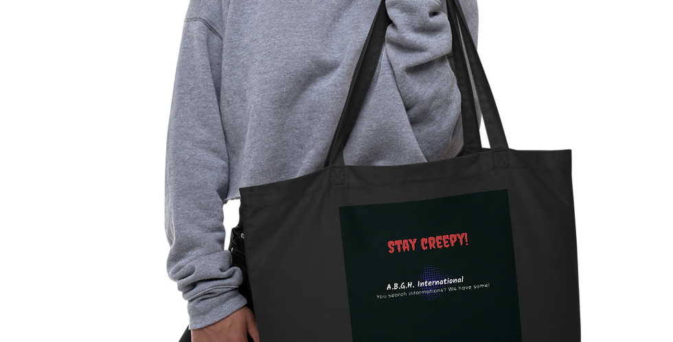 Large organic cotton bag with our slogan and logo