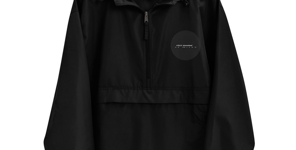 """Embroidered stowable """"Champion"""" jacket with our logo"""