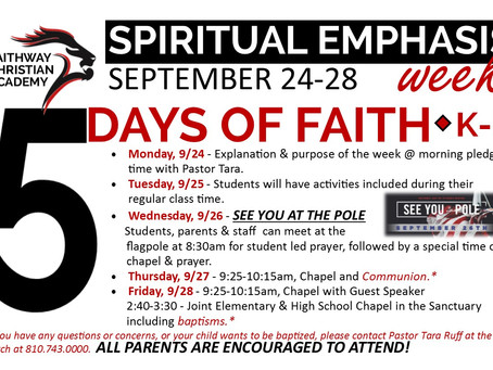 Spiritual Emphasis Week 2019 September 23rd - 27th
