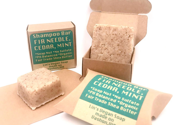 Soap Nut Shampoo Bar - Fir Needle, Cedar, Mint