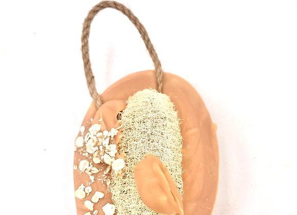 Spiced Pumpkin Oatmeal Soap w/Loofah on A Rope