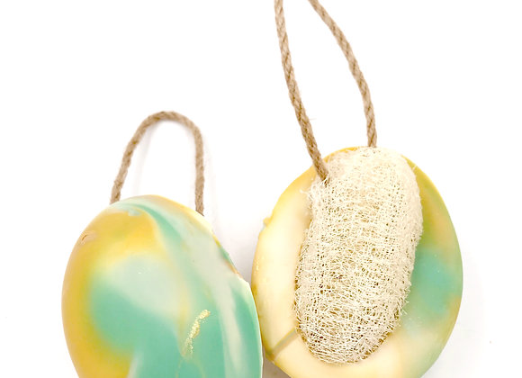 Golden Pineapple Soap w/Loofah on A Rope
