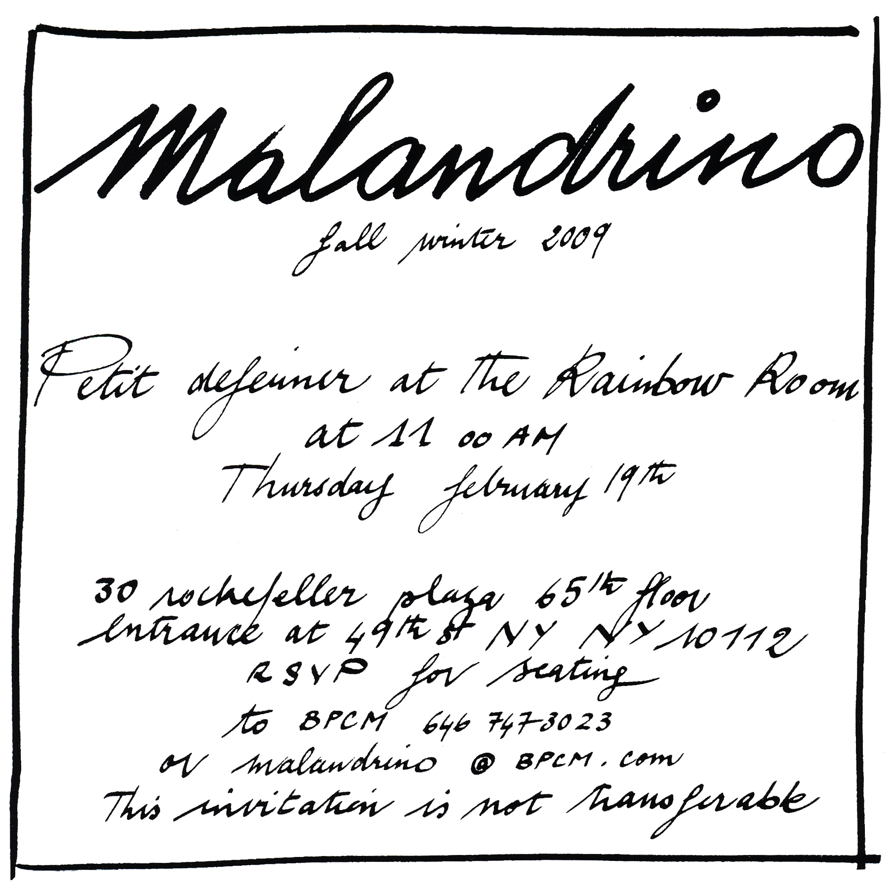 Malandrino NY Fashion Week Invite