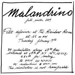 Malandrino NY Fashion Week Invite