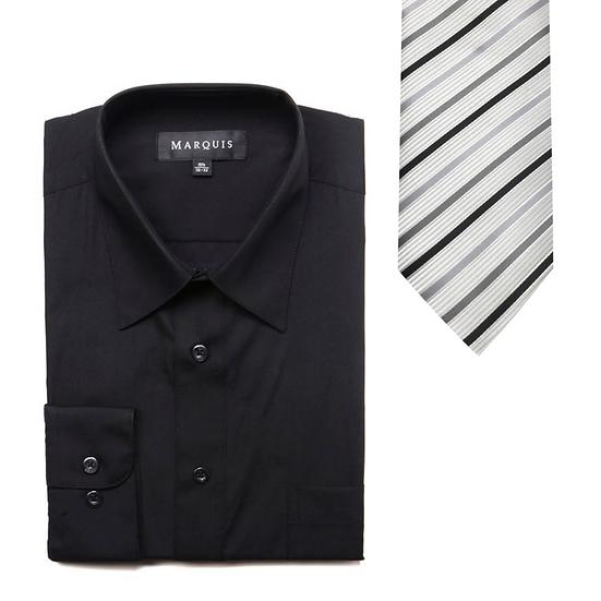 Classic Black Dress Shirt w/White Stripe Tie