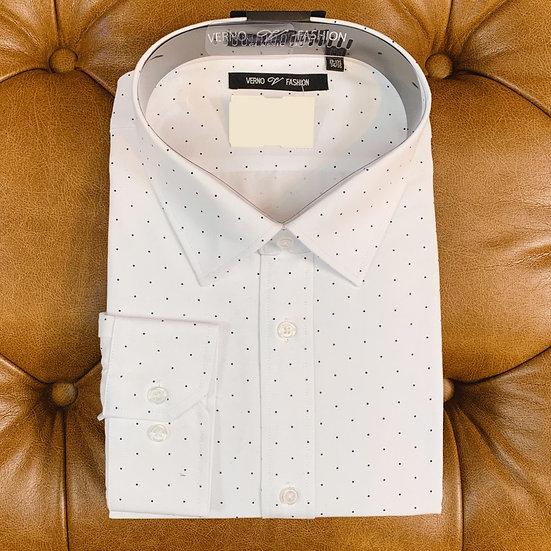 White Navy Dot Dress Shirt
