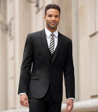 Solid Black Men's Suit from Suits Unlimited