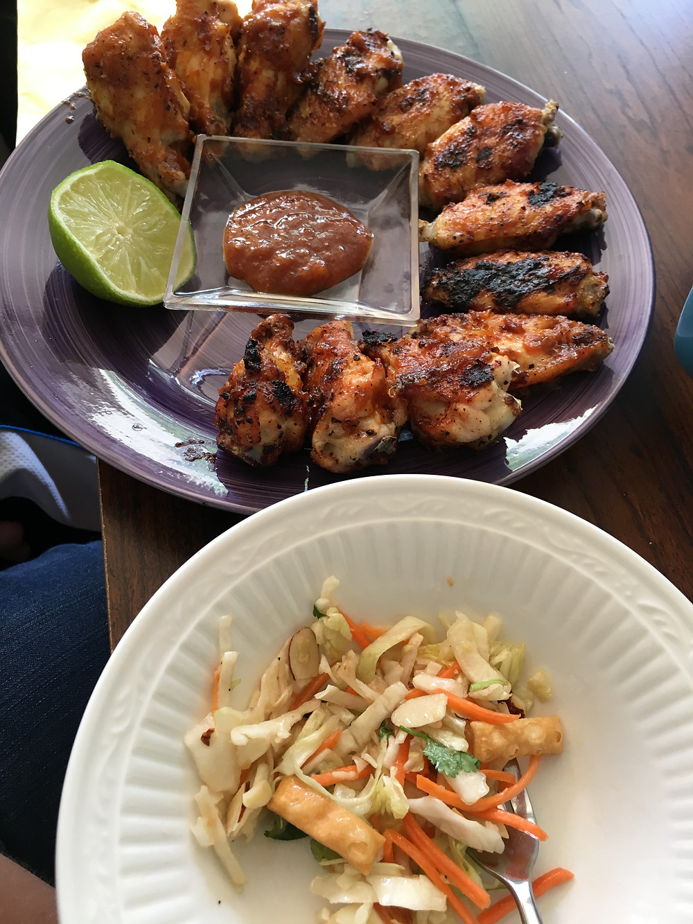 Grilled Chicken wings and salad