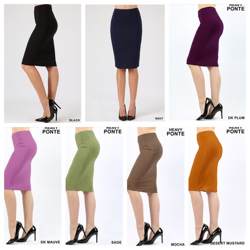 4004b4e04c0562 Ponte Pencil Skirt made from good quality, thick fabric. 68% Rayon, 27%  Nylon, 5% Spandex. Available in Teal, Burgundy, Navy, Black, Plum, Dark  Mauve, Sage, ...