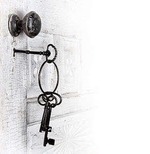 Antique door with keys in the lock isola