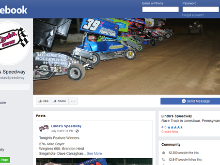 Linda's Speedway limited on Facebook activity; Check Web Site for Updates