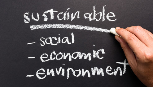 Sustainable topic on chalkboard for sust