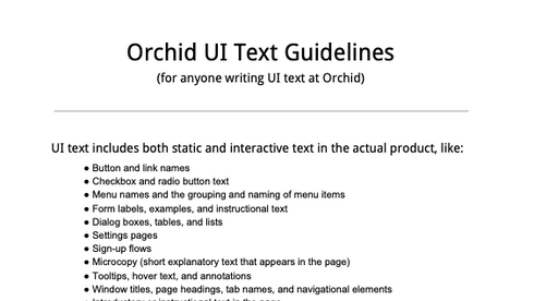 UI Text Guidelines for Orchid