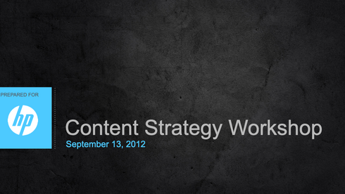 HP Server Division - Content Strategy Workshop