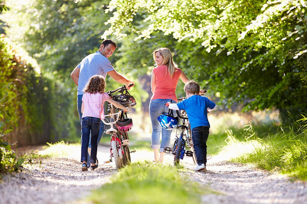 family,cycle,walk,park