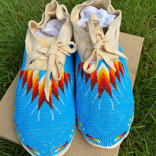 Men's size 10.5 fully beaded moccasin