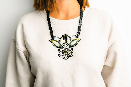 Drama Raised Beadwork Floral Statement Necklace