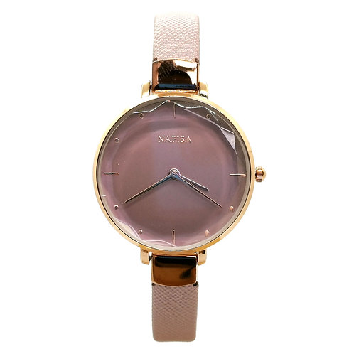 NA-0220 - Women's Elegant Style Leather Strap Wrist Watch