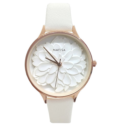 NA-0129 - Women's Fashion Frost White 3D Peony Flower Leather Strap Wrist Watch