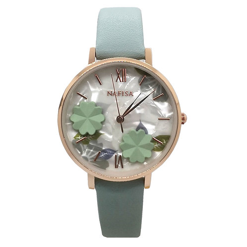 NA-0224 - Trendy Women's Fashion Flower Dial Leather Strap Wrist Watch
