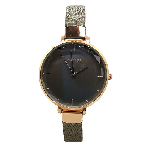 NA-0222 - Women's Elegant Style Leather Strap Wrist Watch