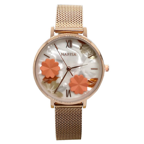 NA-0216 - Trendy Women's Fashion Flower Dial Mesh Chain Wrist Watch