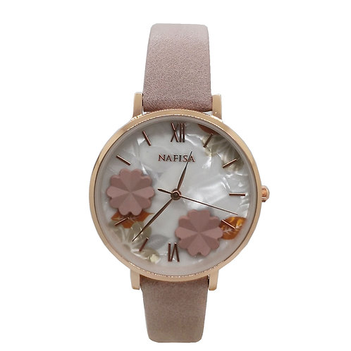 NA-0225 - Trendy Women's Fashion Flower Dial Leather Strap Wrist Watch