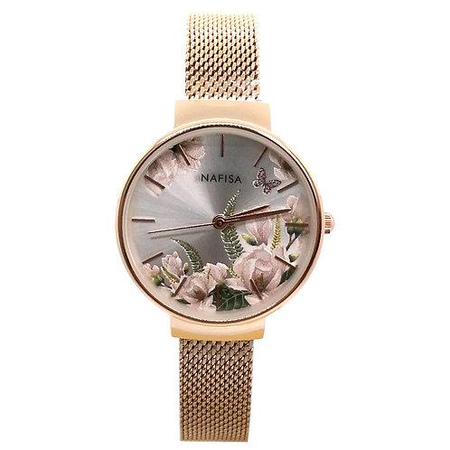 NA-0219 - Trendy Women's Fashion Flower Dial Mesh Chain Wrist Watch