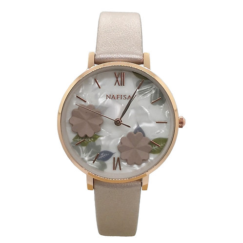 NA-0223 - Trendy Women's Fashion Flower Dial Leather Strap Wrist Watch