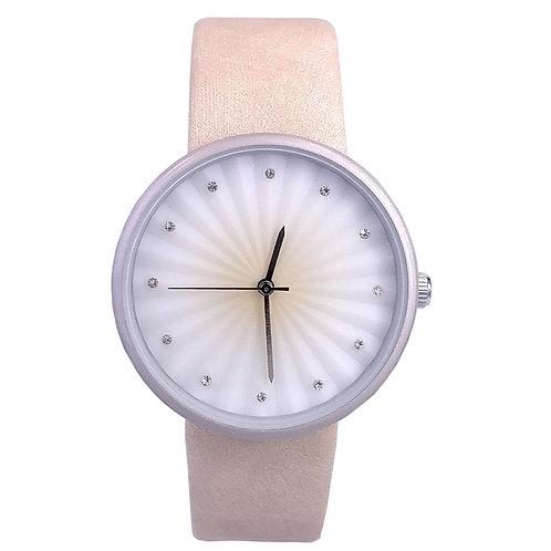 NA-0081 - Women's Elegant Rhinestone Dial Beige Color Soft Leather Wrist Watch