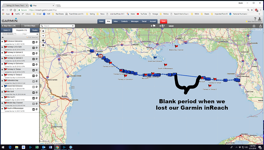 Garmin track of our coarse from Tampa to Kemah