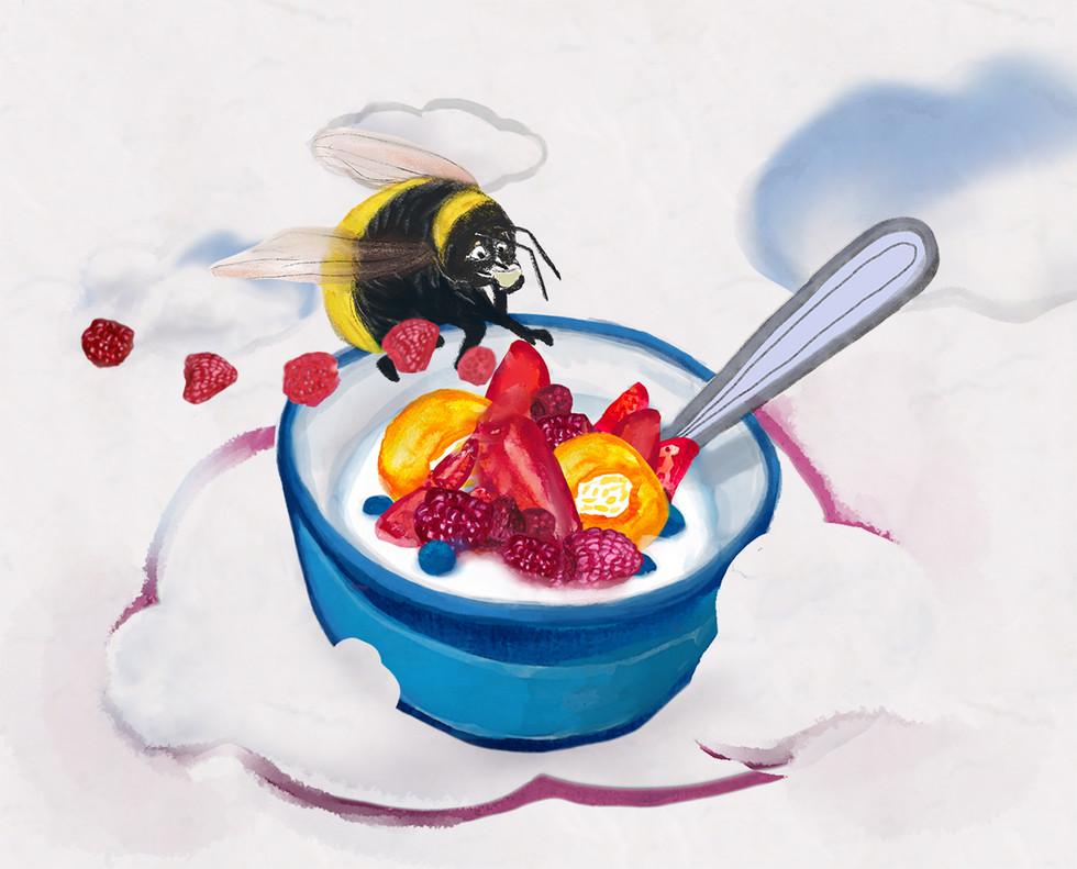 drömmig frukost för humlan
