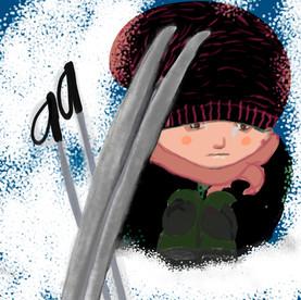 liten sorgsen skidåkare