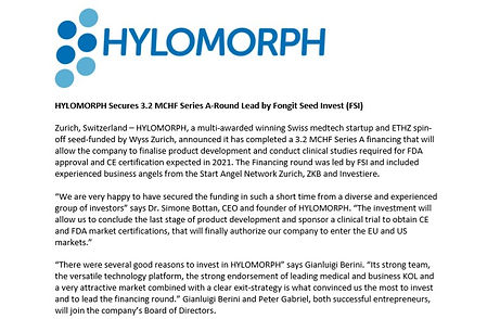 Hylomorph Secures 3.2MCHF Series A-Round led by Fongit Seed Invest (FSI)