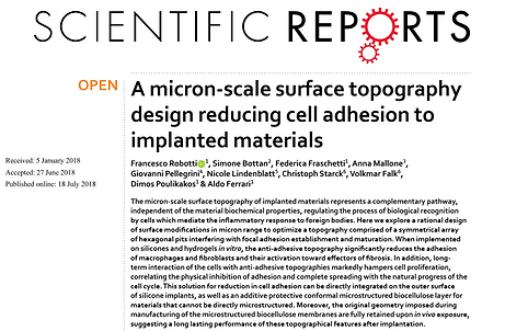 A micron-scale surface topography design reducing cell adhesion to implanted materials