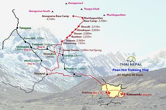 A map of 12 days Annapurna Base Camp trekking