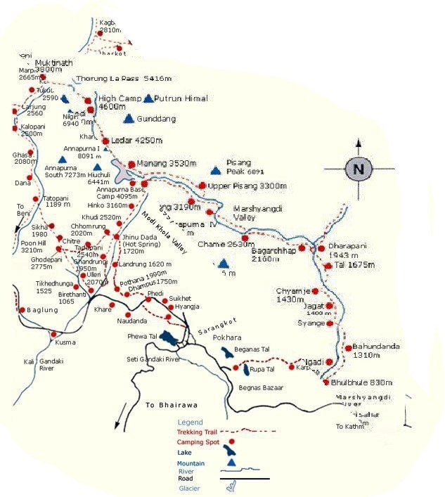 Map of Annapurn Conservation Area