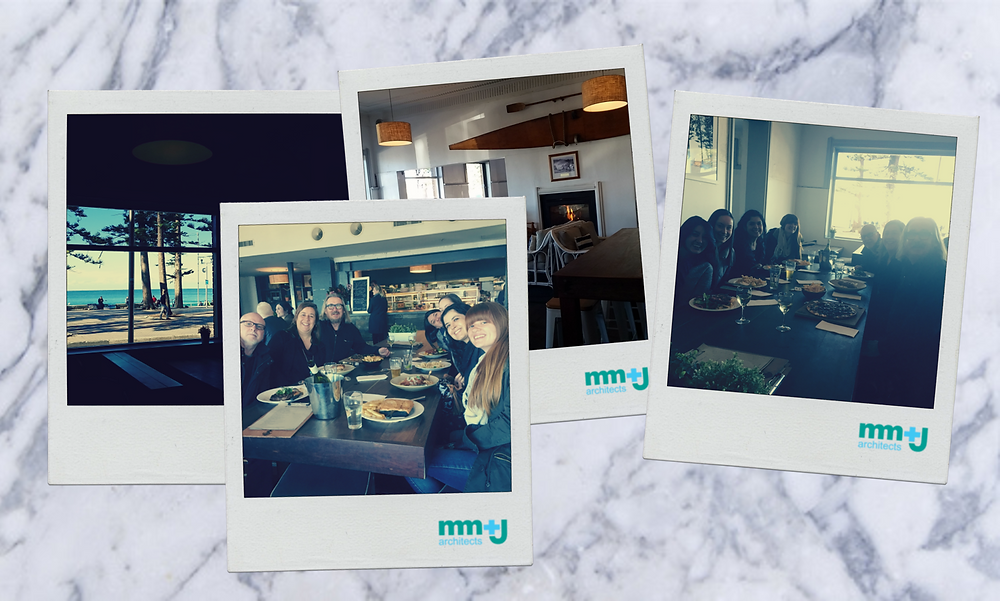 team mm+j architects in manly enjoying eofys lunch by the fire + ocean at the steyne hotel in manly