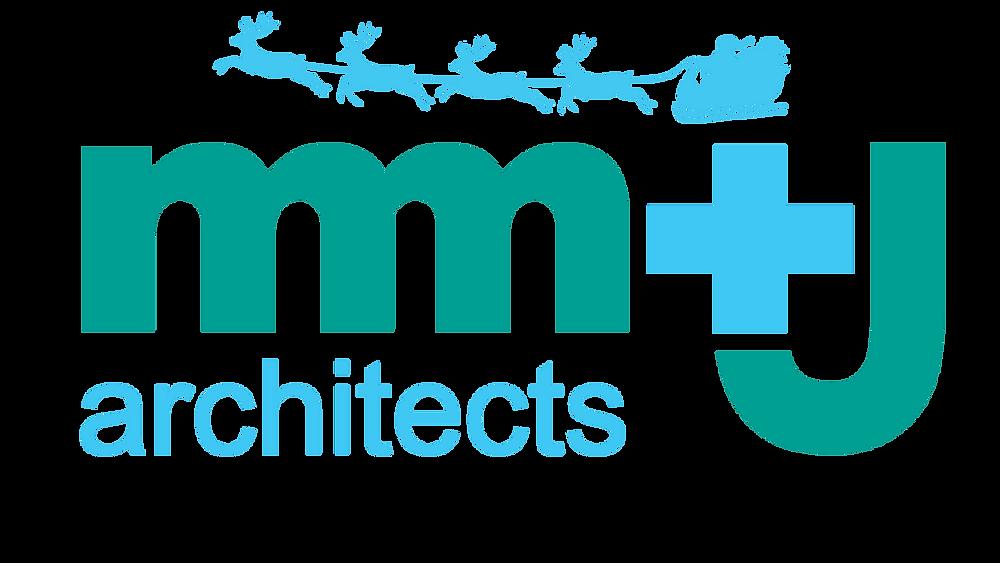 mm+j architects seasons greetings logo with santa sleigh