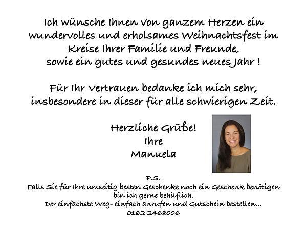 Weihnachtskarte Manuela 2020 V1 mit Bild