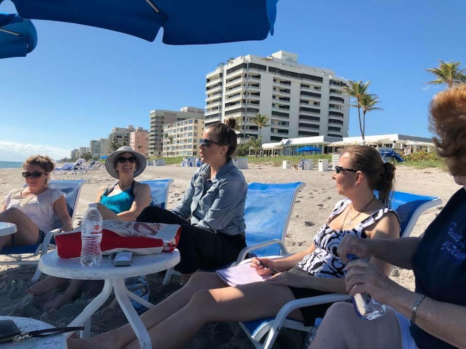 Class on the beach