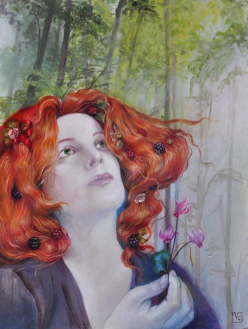 Ritratto preraffaellita con fiocco rosso